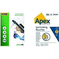 Fellowes 5351205 Pochettes de plastification brillantes Impress 100 microns A3 - Pack de 100 Transparent & A4 Apex…