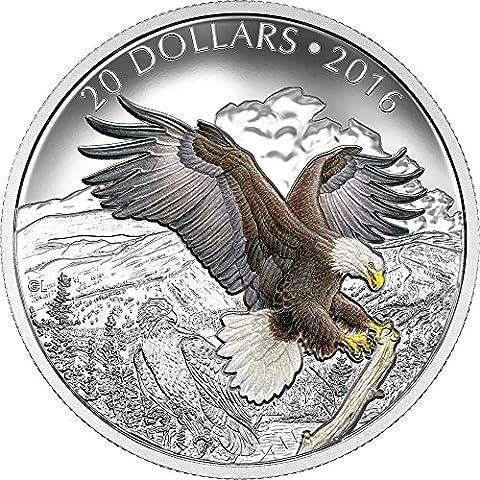 BARONIAL BALD EAGLE Aquila Calva Majestic Animal Moneta Argento 20$ Canada 2016 Monete Coin