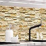 StickerProfis Küchenrückwand selbstklebend Pro STEINWAND Ashlar 60 x 340cm DIY - Do It Yourself PVC Spritzschutz