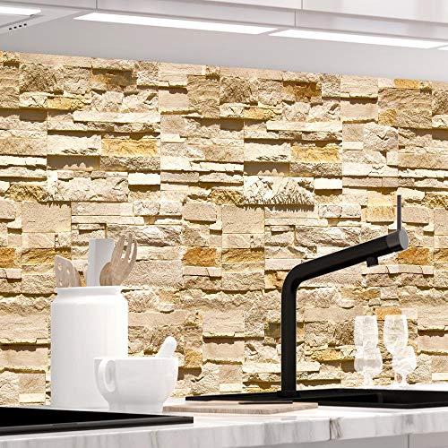 StickerProfis Küchenrückwand selbstklebend - STEINWAND Ashlar - 1.5mm, Versteift, alle Untergründe, Hart PET Material, Premium 60 x 280cm