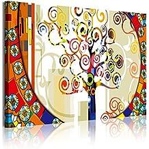 DekoArte 303 - cuadro moderno 1 pieza arbol de la vida estilo gustav klimt, 120x3x80cm