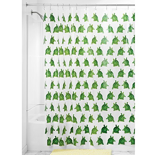 InterDesign Turtle Schimmel-/Spakresistenter Wasserdichter Duschvorhang aus PEVA, 183 x 183 cm, vielfarbig grün Badezimmer-teppiche Interdesign