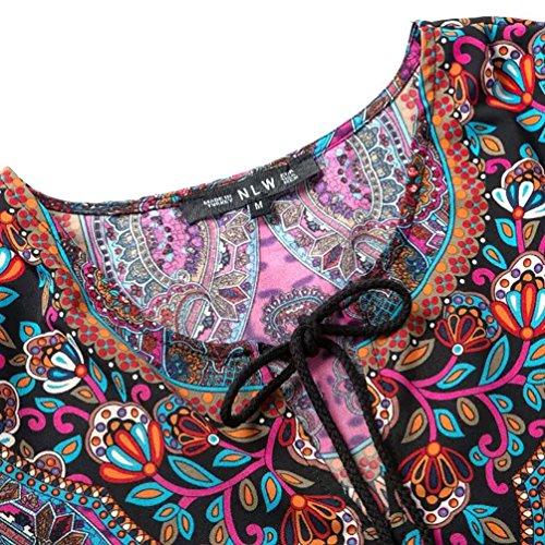 NiSeng Frauen Weinlese Totem-Blumen-Muster Böhmische Quaste Krawatte Strand 3/4 Arm Hemd-Kleid Als Bild