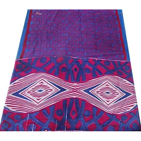 indiano tessuto misto sari di seta astratti donne stampata avvolgere