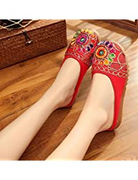 Chnuo Zapatos bordados lenguado de tendón estilo étnico flip flop femenino moda cómodo sandalias red 37