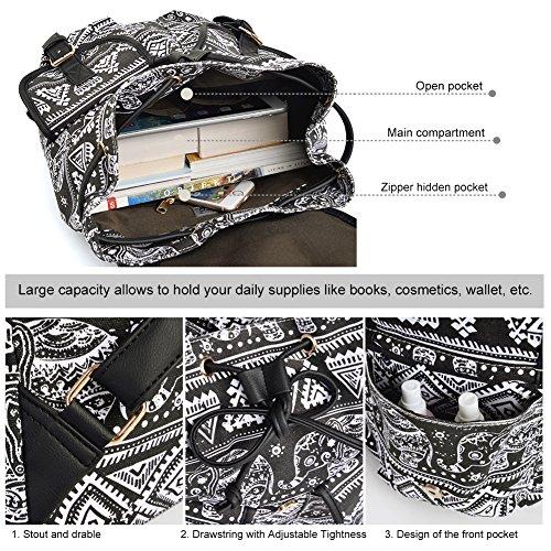 Vbiger Damen Rucksack Damen Daypack Backpack Canvas Rucksack Vintage Rucksack Schulrucksack mit Großer Kapazität Schwarz Elefant+