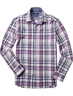 Marc O'Polo Herren Hemd Baumwolle & Mix Oberhemd Kariert, Größe: M, Farbe: Violett