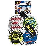Nerf Dog Mega Strength Sports Balls Toy, Medium, Pack of 4
