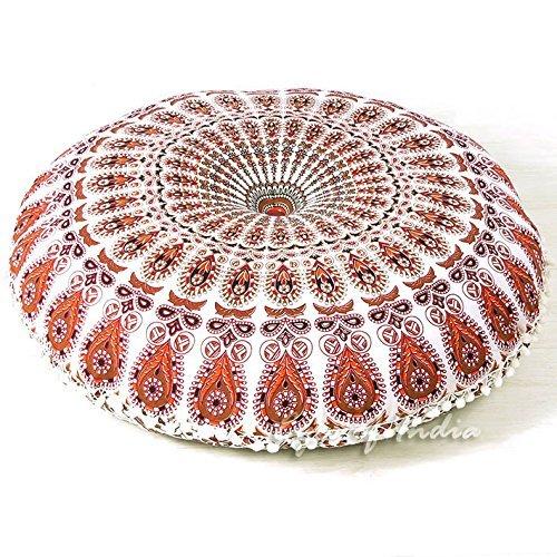 Indisches Kissen Werfen (81,3cm weiß Mandala Boden Meditation Kissen Platz Überwurf Motiv Hippie Bohemian Boho Dekorative indischen)