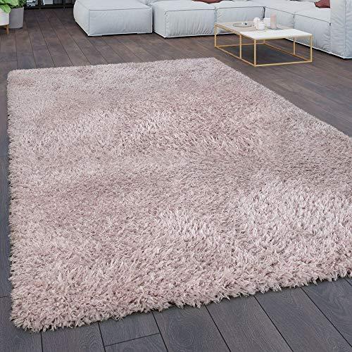 Teppich Wohnzimmer Shaggy Hochflor Flokati Modern Einfarbig In Pastell Rosa, Grösse:Ø 160 cm Rund -