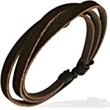 ZENSE Fashion Triple Wrap Rope Adjustable Leather Bracelet ZB0037 for men
