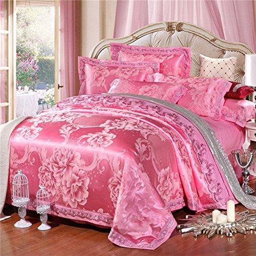 ZHAS Im europäischen Stil 100% Baumwolle flower pattern Steppdecke Set 4 Stück (1 Bettbezüge 1 Bettlaken 2 Kissenbezüge) - U König