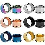 KUBOOZ Set 12 pezzi colorati in acciaio inox avvitati connettori per orecchie MIX Tunnel calibri Piercing barella