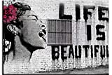 """Piy Painting Leinwandbild Bansky Wandbild """"Life is Beautiful"""" Schreiende Frau Wasserdichte Bilder und Kunstdrucke auf Leinwand Wanddeko für Wohnzimmer Esszimmer Küche Graue Malerei 50 x 70cm"""