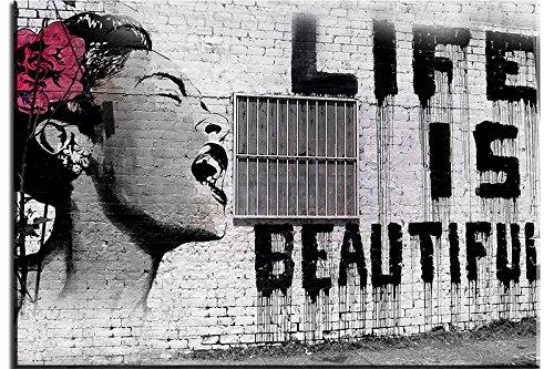 PIY Cuadro sobre lienzo Pintura Banksy La vida es bella Arte de la Lona Arte de La Pared Decoraciones Interiores Impermeable listo para Colgar Cuadros Sobre el Lienzo con Bastidor de Madera Gancho Colgante Para el Dormitorio Sala Comedor Cocina 50x75x2.5cm