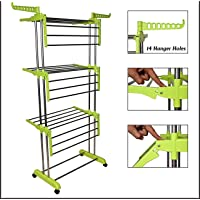 Porchex Heavy Double Poll Stainless Steel Cloth Dryer Stand 3-Tier Collapsible Stainless Laundry Dryer Hanger with Casters for Indoor (Lime Green)