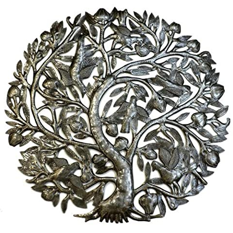 Steel Drum Art - 24 Inch Tree of Life with Buds by Haitian Artisans