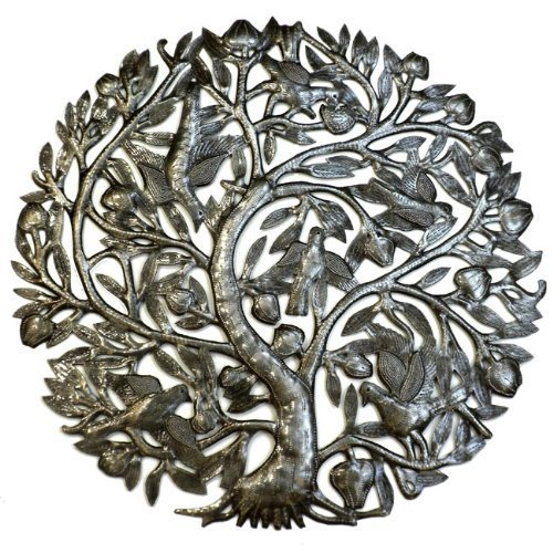 Steel Drum Art - 24 Inch Tree of Life with Buds by Haitian Artisans (Haitian Art Drum Steel)