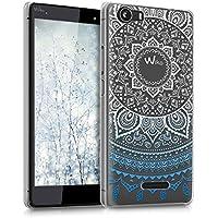 kwmobile Funda para Wiko Fever 4G - Case plástico para móvil - Cover trasero Diseño Sol hindú en azul blanco transparente