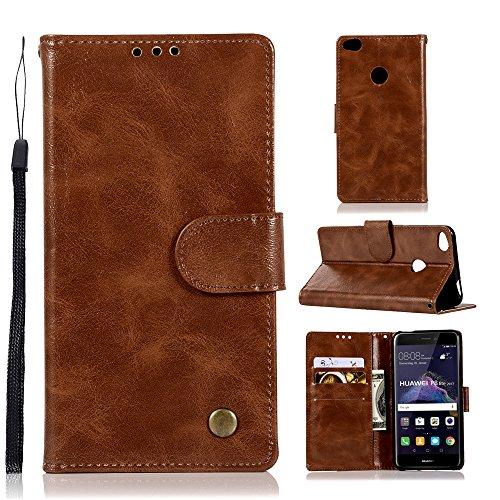 Tophung Huawei P8 Lite 2017 Hülle, Premium Retro PU Leder Flip Notebook Wallet Case mit Kickstand Kreditkarten-Ausweishalter Magnetverschluss Slim Skin Cover für Huawei P8 Lite 2017 braun