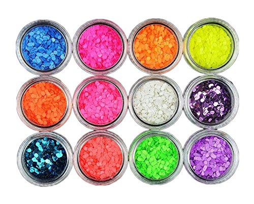 Décorations d'ongles de 12 couleurs de petit papier rond et de série de Mashup de laser