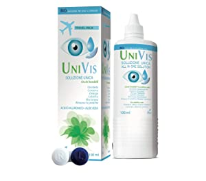 Univis Bio Soluzione Unica (con Acido ialuronico ed Aloe vera) per Lenti a contatto - 100 ml travel kit