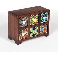Universal Art Wooden Drawer Chest With Ceramic Drawers Multi Drawers (6 Drawer Horizontal)