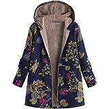 Lazzboy Women Coat Jacket Ethnic Boho Print Warm Flannel Inner Cotton Padded Hooded Loose Outerwear,Oversized Plus Size,UK 12