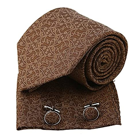 PH1101 Brown Paisley Economics Family Woven Silk Tie Handkerchiefs Cufflinks Present Box Set Sienna Gifts for Him By Epoint