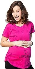Bold N Elegant Women's Fuschia Pink Half Sleeve Cute Printed Child Loading Pregnancy Topwear Maternity T-Shirt Tee Top
