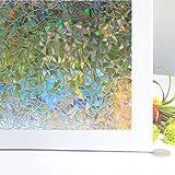 Pellicole Adesive Colorate Zindoo Pellicola Privacy per Finestre Statica 3D Decorativa Non Adesivi per Vetri Anti-UV Rainbow Autoadesivo Finestra per Casa Cucina Ufficio Doccia 44.5x200 Centimeter