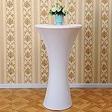 Acelectronic Tischdecke,Stretchy Tischhussen für Stehtische/Bistrotisch/Tischdurchmesser Ø 80-85cm in Weiß-Tisch Husse für Feiern Veranstaltungen Hochzeit Dekoration-Eleganter Tischüberzug - 5