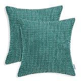 Kissenbezüge, cord-kissen CaliTime 2 Stück Kissen Werfen Kissen Abdeckungen Fälle Schutz Muscheln zum Couch Sofa Schlafzimmer Zuhause Weihnachten Dekor (55cm x 55cm)