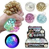 4x Quetschball Squeezeball LED Farbwechsel Blinkend Glitzer ca.60mm Ball Antistress Knetball
