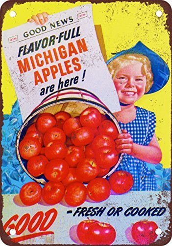 PotteLove Metallschild, Motiv: Michigan Apples, 20,3 x 30,5 cm Michigan Apple