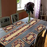 #10: QueensWorth Dining Table Runner With Six Mats Jacquard Fabric Set of six mats with one runner - Set of 7 Dining Table Runner and Mats Jacquard Linen 7 Piece Mat with Table Runner