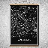 TIANLIANG Victoria Weltkarte Stadt Modernen Abstrakten Bild Drucken Öl Gemälde Leinwand Birke Blättern Cafe Bar Wohnzimmer Poster Mit Rahmen, Valencia, 60 X 90 cm Ohne Rahmen