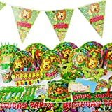 Toyvian Carta Partito Disponibile delle Partito Torta Dessert Piatto Piastra Forcella 34 in 1 per Bambini (6 * Piatti, 6 * Tazze, 10 * tovaglioli, 6 * cucchiai, 6 * forchette)