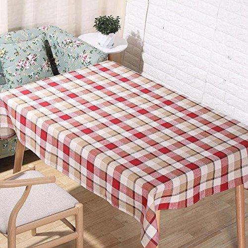 American pastorale Natural lin nappes 3D impression numérique rouge et blanc treillis de table en tissu maison décoration rectangulaire serviette de couverture , 60*60cm