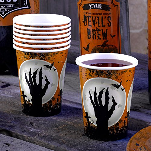 Premium Weddings Scary Halloween Pappbecher 8 Stück - Grusel Zombie Deko Halloween Party Becher (Halloween Flaschenetiketten Scary)