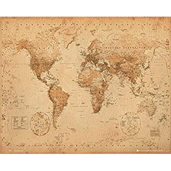 World map antique style mini poster 40cm x 50cm amazon gb eye 40 x 50 cm antique style world map mini posters multi colour gumiabroncs Image collections
