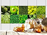 GRAZDesign 770339_10x10_FS10st Fliesen-Aufkleber Set Obst und Gemüse für Kacheln | Küchen-Fliesen mit Folie überkleben (10x10cm//Set 10 Stück)