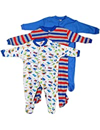 Mini Berry Long Sleeve Cotton Sleep Suit Romper Set of 3 for Boys
