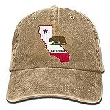 beautytt California Flag Map Unisex Denim Baseball Cap Adjustable Strap Low Profile Plain Hats Outdoor Casquette Snapbac