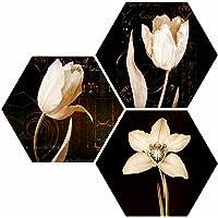 SAF Flower UV Textured MDF Set of 3 Hexagon Painting 17 Inch X 17 Inch SANFHX130