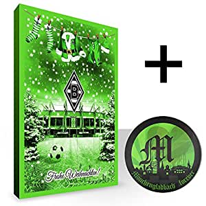 Adventskalender Borussia Mönchengladbach plus gratis Aufkleber BMG Weihnachtskalender gefüllt Faire Trade