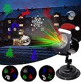 LED Projektionslampe Weihnachtsbeleuchtung Außen mit Sternen, Weihnachtsbeleuchtung mit 12 Lichteffekt für Weihnachten, Feste, Party, Innen & Außen Garten Wand Beleuchtung, Wasserdicht