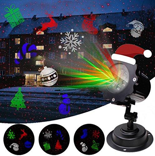LED Proiezione Lampada Proiettore Natale con stelle e Santa elementi per Natale, feste, Party, interno & esterno giardino parete illuminazione
