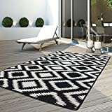 carpet city Teppich Flachflor Modern Outdoor Fest Geknüpft Outside Sunset Karo Schwarz Weiß 160 x 230 cm