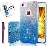 iPhone 7caso, 'iPhone 7lujo Bling brillante Glitter Funda [transparente] [extremadamente brillante], [Slim Premium] 3capa híbrida, anti-slick/protectora/Funda Blanda, iPhone 7case-4.7inch [+ 1lápiz capacitivo + 1pieza protector de pantalla de cristal templado]., color B Blue Gradient